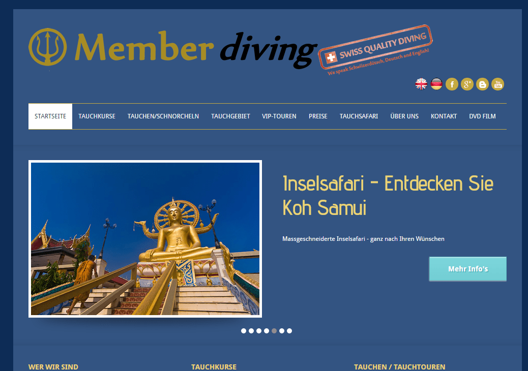 Unsere Webseite ist Online – Member-Diving, Koh Samui!